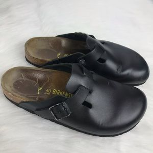 Birkenstock Boston Superlauf  Black Leather Mules